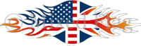 UK/USA Mixed Flames Flag